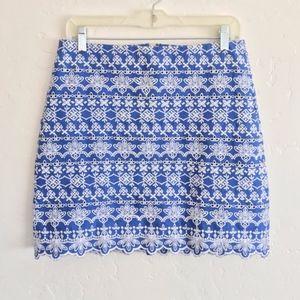LOFT Blue & White Eyelet Embroidered Mini Skirt 4